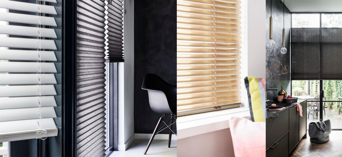 raamdecoratie  rolgordijnen houten jaloezie bece luxaflex  plissé duetten duplo